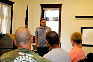 Rep. Justin Amash addresses union members at a town hall meeting in Ionia