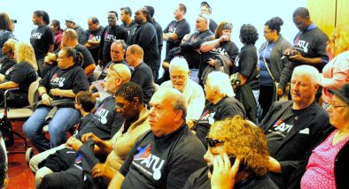 More than 100 bus drivers and mechanics from ATU Local 836 and their supporters  packed the monthly ITP board meeting on August 26, 2015