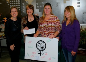 Members of the KICLC Women's Caucus presented the Women's Resource Center with a check for $1,301.57. From left, WRC Development Manager Brooke Detgen, WRC Executive Director Sharon Caldwell, Women's Caucus chair Lisa Bennett (OPEIU) and Lisa Angus (GREIU).
